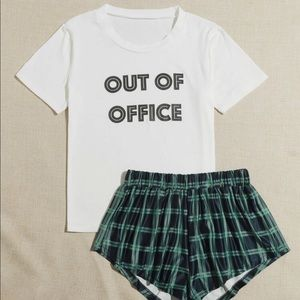 Out of Office Tshirt & Shorts Pajama Set